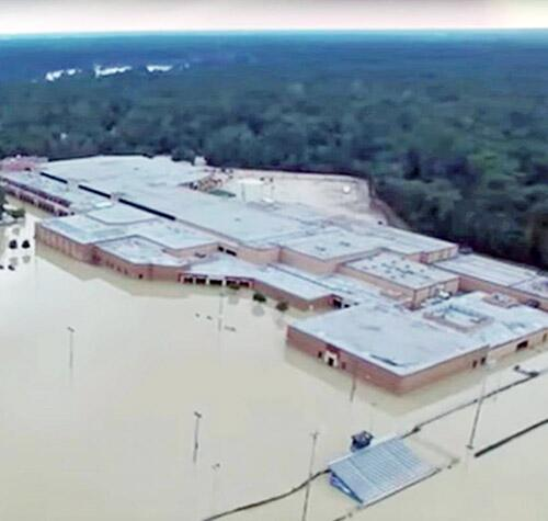 The flooded Kingwood High School campus, which is being cleaned out and repaired under a $45 million FEMA Public Assistance grant to the Humble Independent School District.
