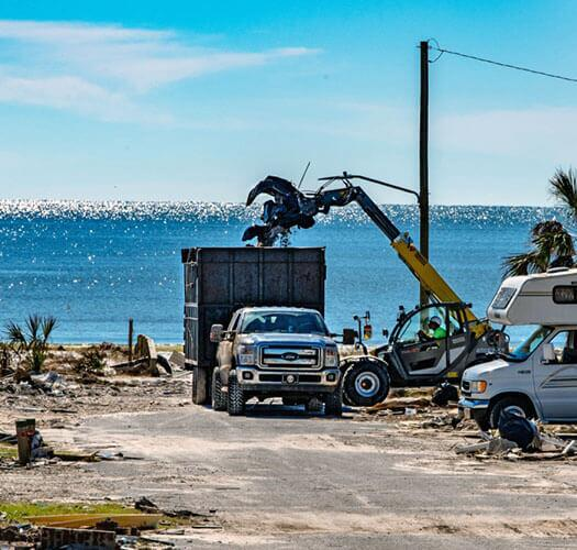 Residents begin the long process of removing debris left by Hurricane Michael after 155-mph winds and a strong storm surge devastated the town. Mexico Beach was ground zero when the category 4 storm came ashore more than three weeks ago. FEMA/K.C. Wilsey