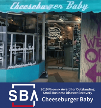 After and before photo of the recovery of Cheeseburger Baby restaurant.