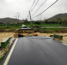 Road washout in Puerto Rico due to Hurricane Maria. Photo via Puerto Rico Department of Transportation and Public Works.
